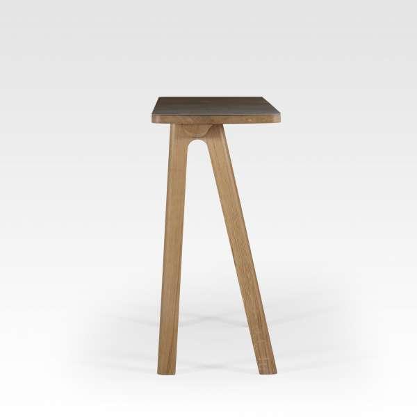 Table console design en céramique anthracite et bois massif fabriquée en France - Chevron - 3