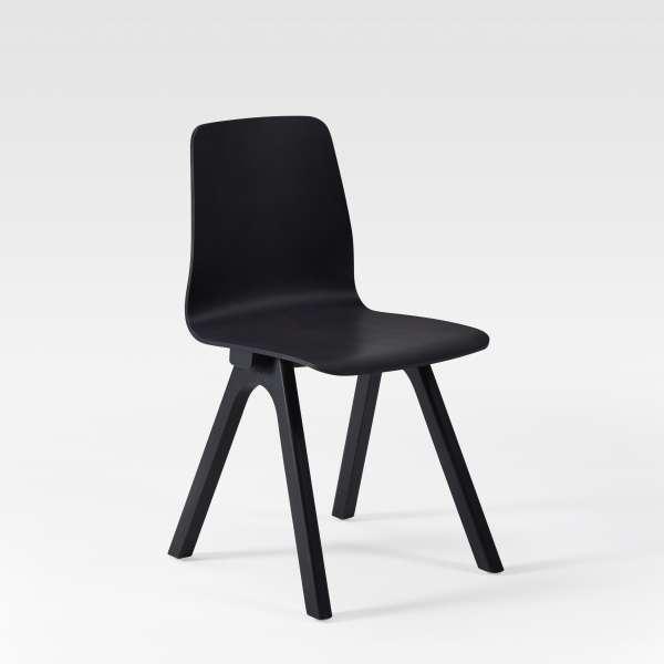 Chaise de designer en bois noir fabriquée en France - Chevron - 6