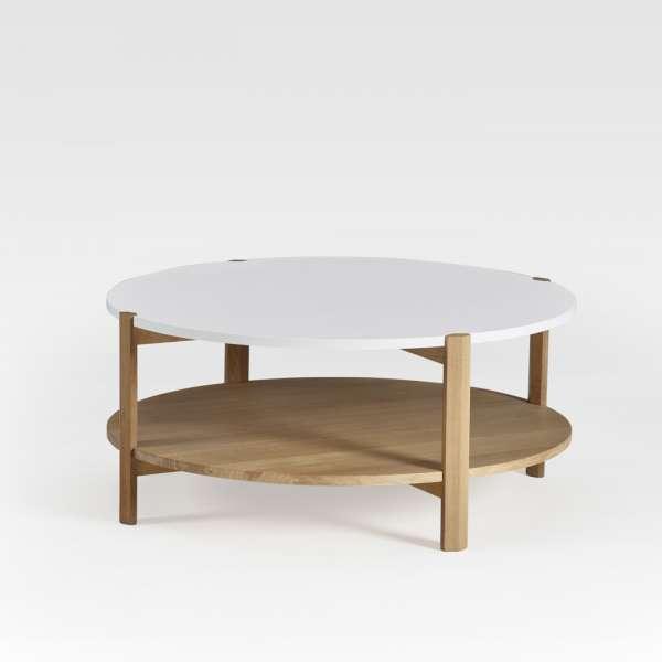 Table basse ronde en bois bicolore fabrication française - Facette ...