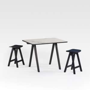 Table haute de designer en céramique et bois de fabrication française - Chevron
