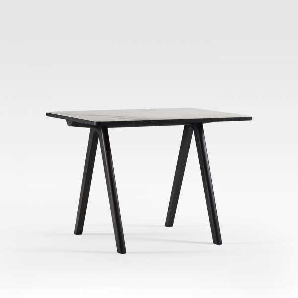 Table snack de designer en céramique et bois de fabrication française - Chevron - 2