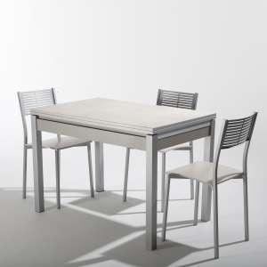 Petite table de cuisine extensible en céramique blanche avec tiroir pieds alu - Iris
