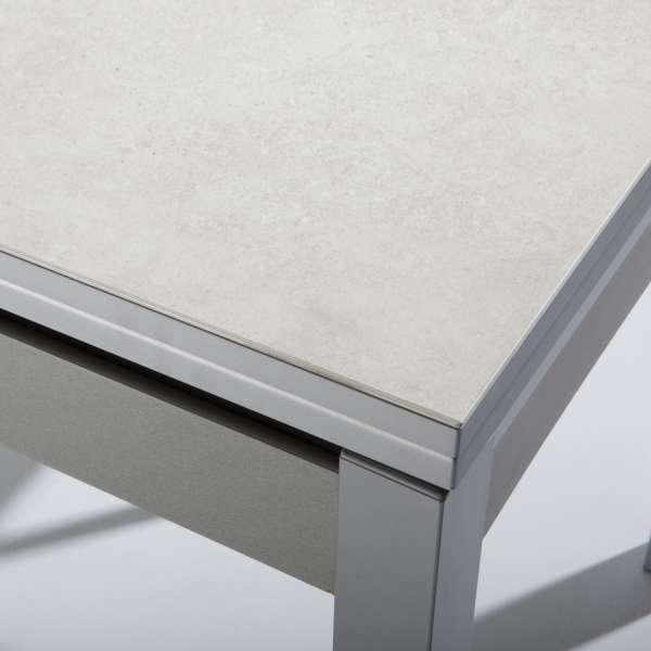 Table de cuisine extensible en céramique blanche avec tiroir pieds alu - Iris - 5