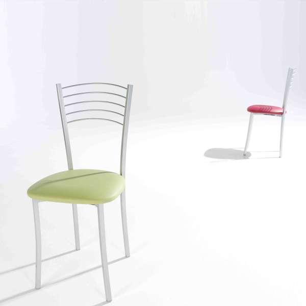 Chaise de cuisine en métal satiné avec assise rembourrée verte - Marta - 4