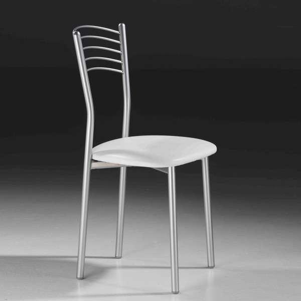 Chaise de cuisine en métal satiné avec assise rembourrée blanche - Marta - 6
