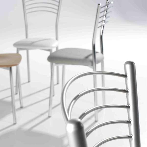 Chaise de cuisine en métal satiné avec assise rembourrée grise - Marta - 5