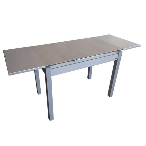 Table de cuisine extensible en céramique grise avec tiroir pieds alu - Iris - 7