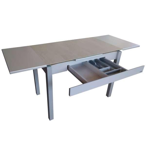 Petite table de cuisine extensible en céramique grise avec tiroir pieds alu - Iris - 8