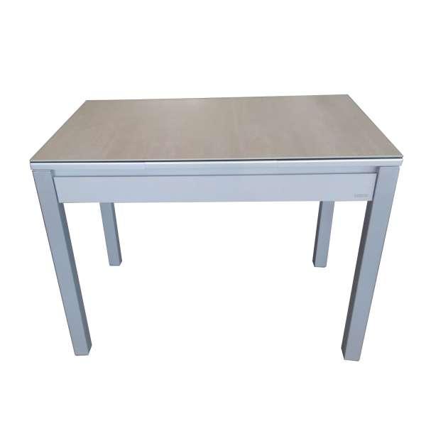 Table de cuisine en céramique avec allonges grise avec tiroir pieds alu - Iris - 6