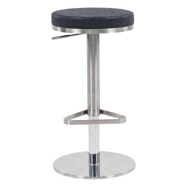 Tabouret sans dossier ajustable en hauteur assise ronde noire mouchetée et structure chromée - Nice - 1