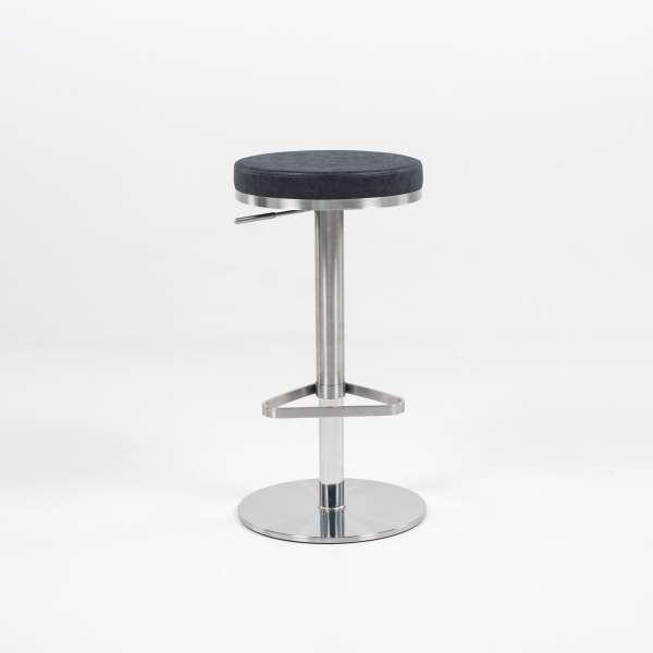 Tabouret sans dossier ajustable en hauteur assise ronde noire tachetée et structure chromée - Nice - 2