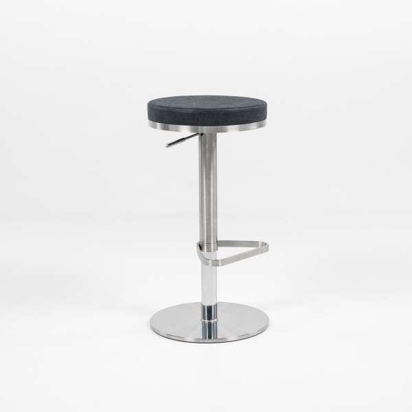 Tabouret sans dossier réglable en hauteur assise ronde noire mouchetée et structure chromée - Nice - 3