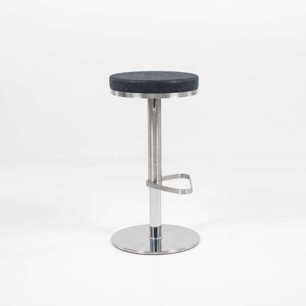 Tabouret sans dossier réglable en hauteur assise ronde noire tachetée et structure chromée - Nice - 4