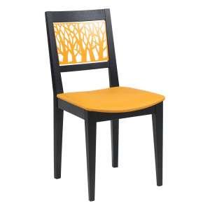 Chaise de séjour française avec dossier jaune et noir aux motifs géométriques - Emma