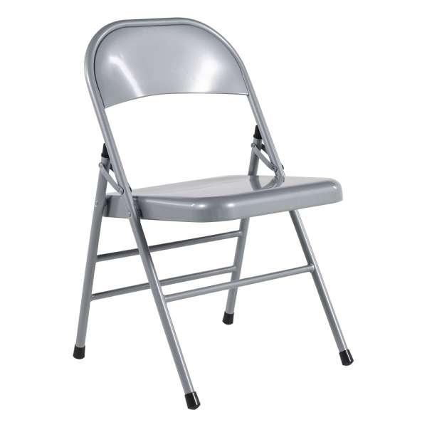 Chaise pliante en métal  gris - Mathiew - 5