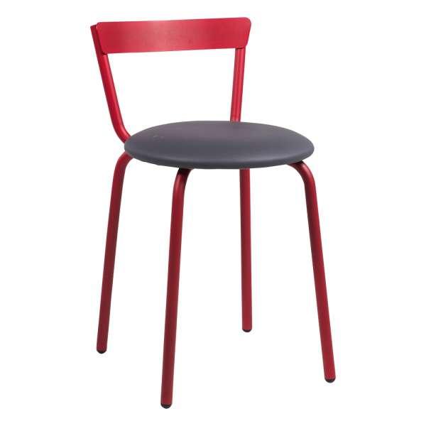 Chaise de cuisine rouge et grise de fabrication française - Xoxo - 3