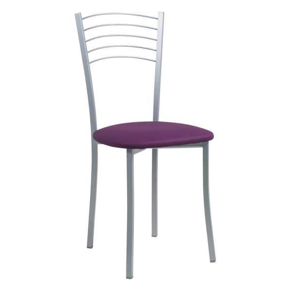 Chaise de cuisine contemporaine assise synthétique violet structure en métal alu - Yolanda - 2