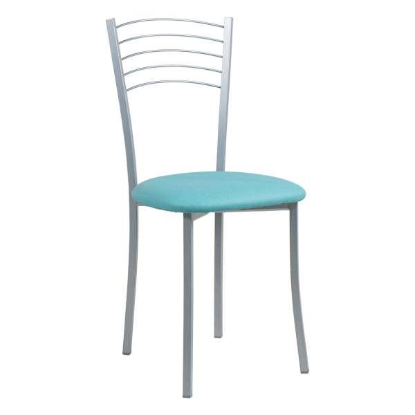 Chaise de cuisine contemporaine assise synthétique turquoise structure en métal alu - Yolanda - 7