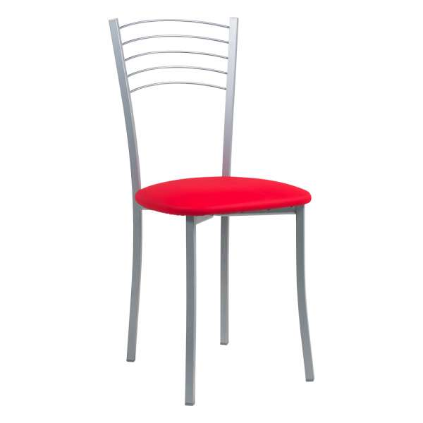 Chaise de cuisine contemporaine assise synthétique rouge structure en métal alu - Yolanda - 8