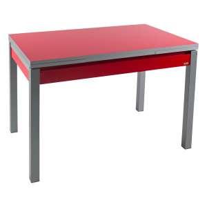 Petite table de cuisine extensible en formica rouge avec tiroir pieds alu - Iris
