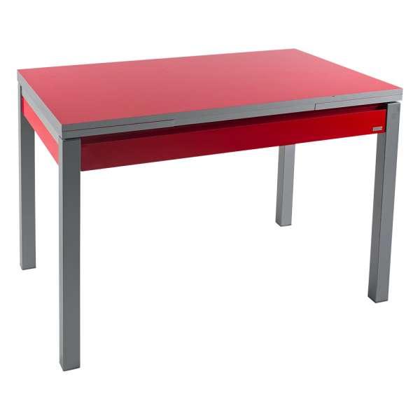 Petite table de cuisine extensible en formica rouge avec tiroir pieds alu - Iris - 1