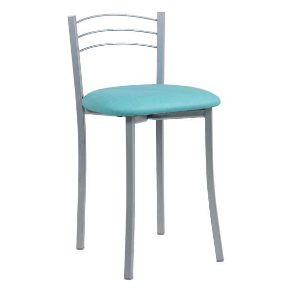 Tabouret bas de cuisine avec assise rembourrée turquoise et structure métal alu - Yolanda - 2