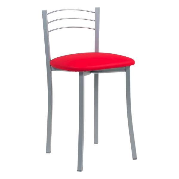Tabouret bas de cuisine avec assise rembourrée rouge et structure métal alu - Yolanda - 8