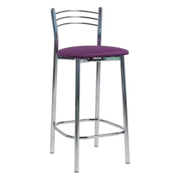 Tabouret snack de cuisine en métal assise rembourrée violet - Marta - 1