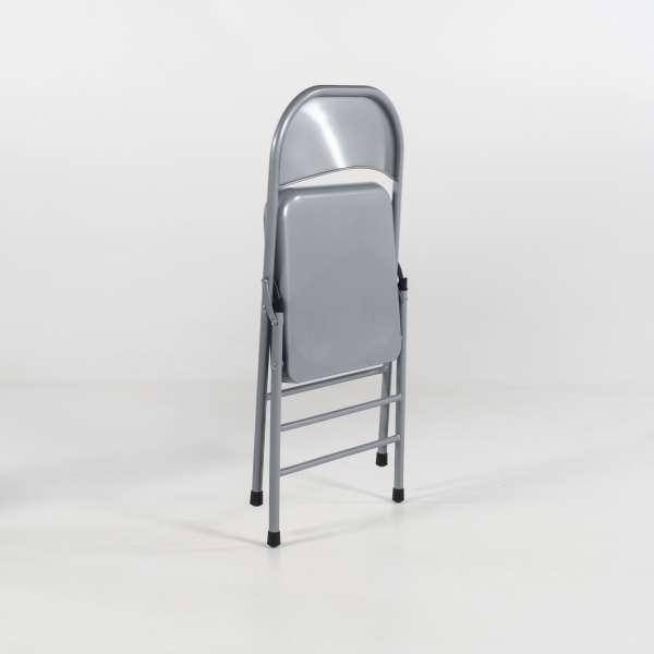 Chaise pliante en métal gris alu - Mathiew - 7