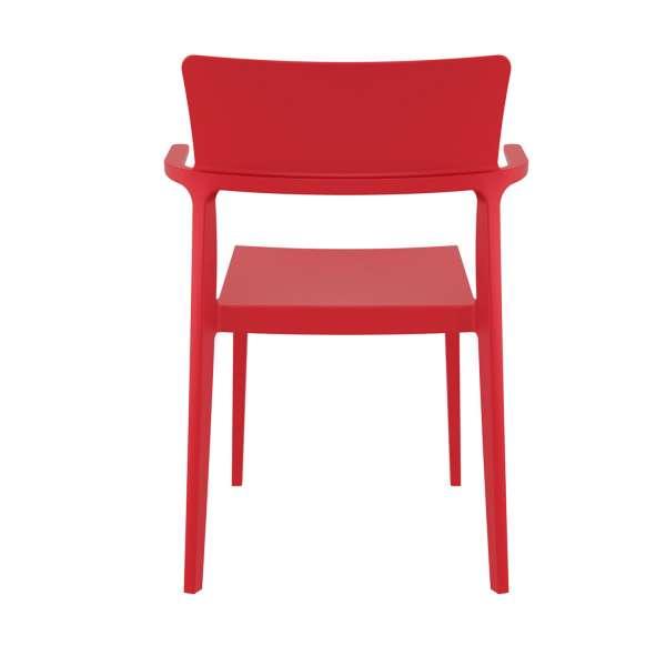 Chaise de jardin avec accoudoirs empilable en plastique rouge - 093 Plus - 2