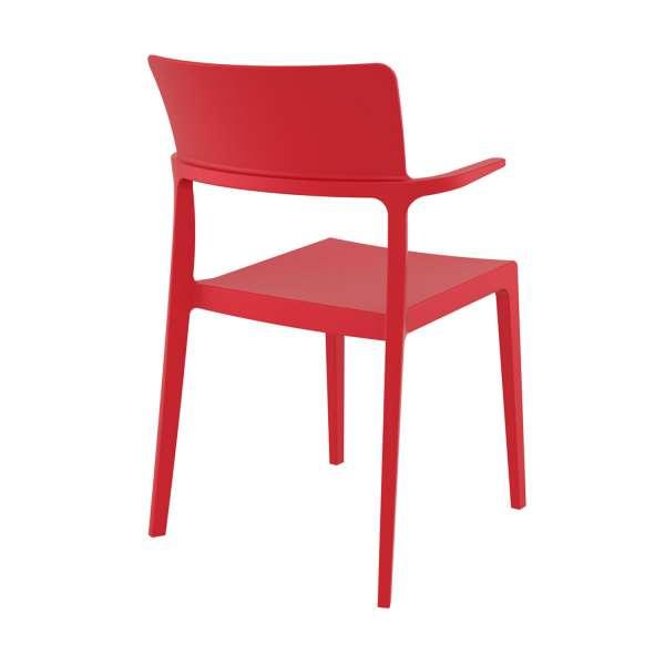Chaise de jardin avec accoudoirs en plastique rouge - 093 Plus - 3