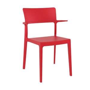 Chaise de jardin avec accoudoirs empilable en polypropylène rouge - 093 Plus