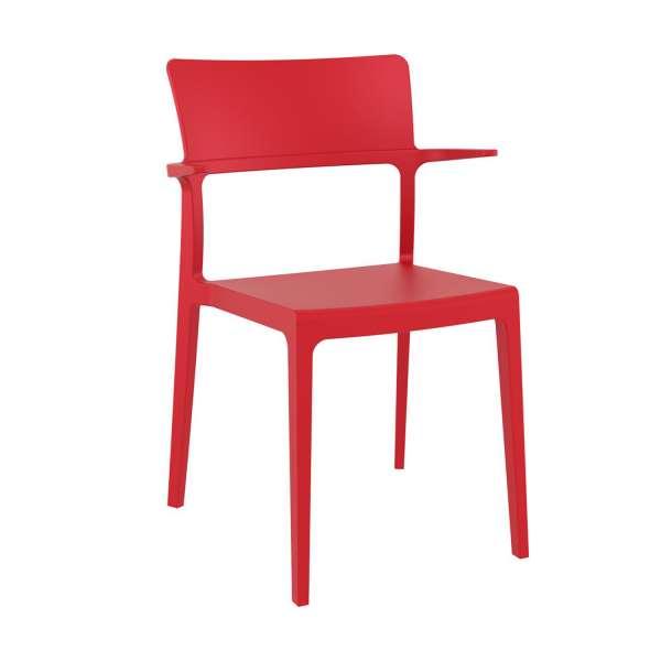 Chaise de jardin avec accoudoirs empilable en polypropylène rouge - 093 Plus - 1