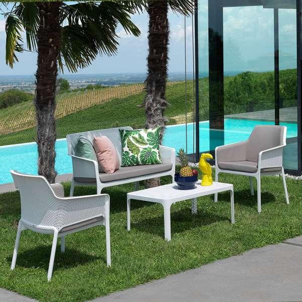 Table basse de jardin moderne avec plateau micro-perforé 100 x 60 cm ...
