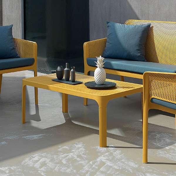 Table basse de jardin moderne avec plateau jaune micro-perforé 100 x 60 cm - Net - 3