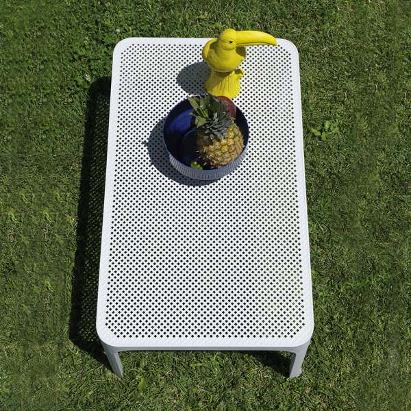Table basse moderne avec plateau blanc micro-perforé 100 x 60 cm - Net - 2