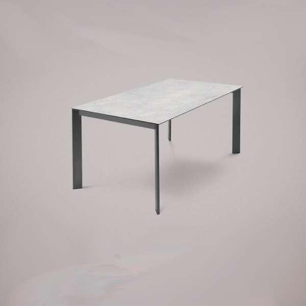 Table en céramique blanche avec allonges et pieds en métal anthracite - Universe Domitalia® - 2