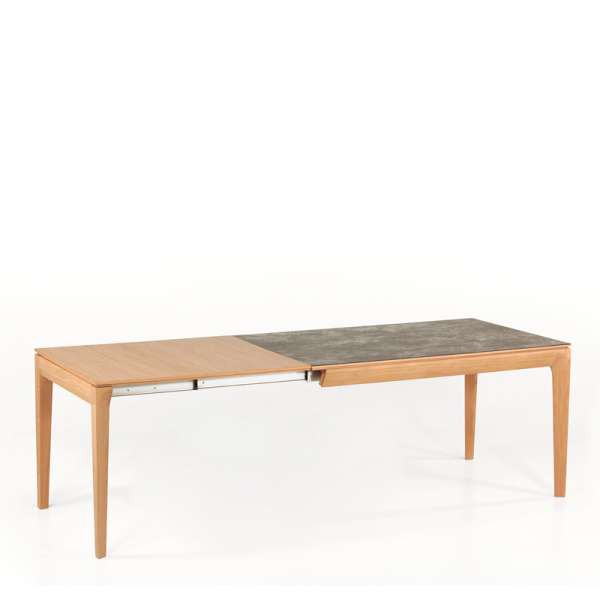 Table de salle à manger française  en céramique extensible avec allonges en bois - Buzz - 5