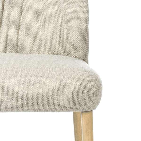 Chaise rembourrée en tissu beige pieds en bois naturel- Enora Mobitec® - 5