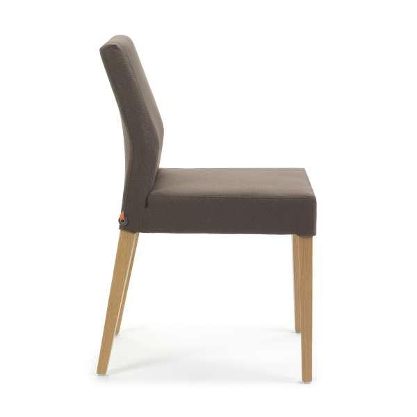 Chaise mobitec de séjour en tissu marron avec pieds en bois naturel - Ken Mobitec® - 3