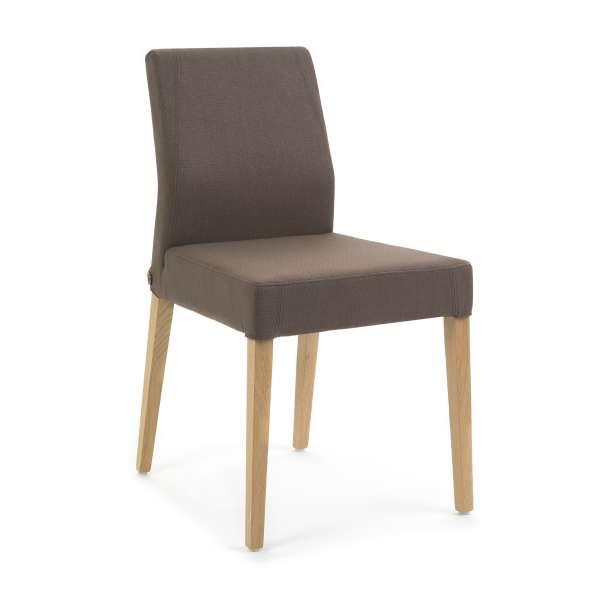Chaise de séjour en tissu marron avec pieds en bois naturel - Ken Mobitec® - 1