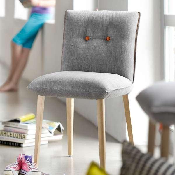 Chaise Mobitec en tissu gris avec boutons décoratifs - Soda Mobitec® - 5
