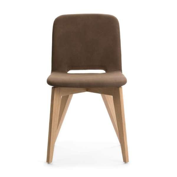 Chaise en tissu marron avec pieds bois naturel - Pamp Mobitec® - 8