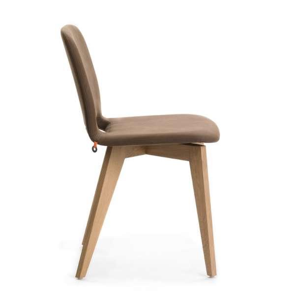 Chaise marron avec pieds bois naturel - Pamp Mobitec® - 9