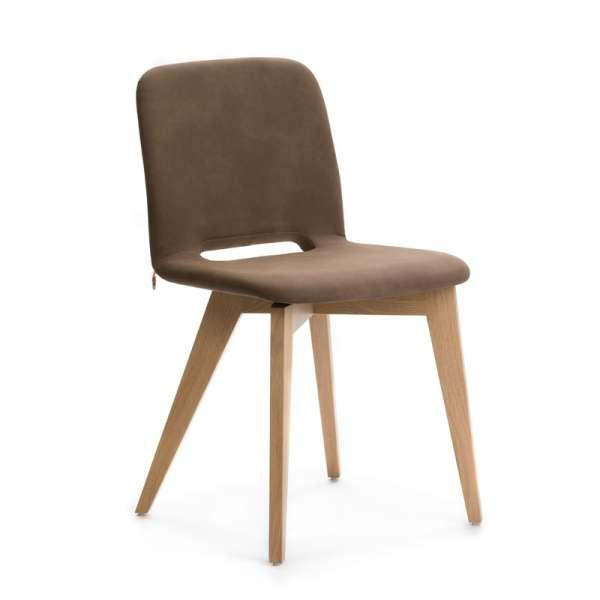Chaise scandinave en tissu marron avec pieds bois naturel - Pamp Mobitec® - 7