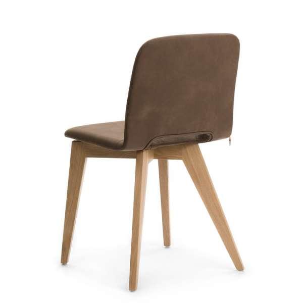 Chaise velours marron  avec pieds bois naturel - Pamp Mobitec® - 10
