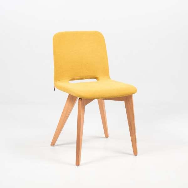 Chaise en tissu jaune avec pieds bois naturel - Pamp Mobitec® - 2