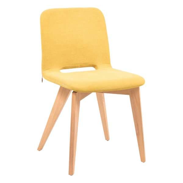 Chaise scandinave en tissu jaune avec pieds bois naturel - Pamp Mobitec® - 1