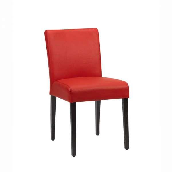 Chaise Mobitec en synthétique rouge et pieds en bois naturel noirs - Shanna - 1