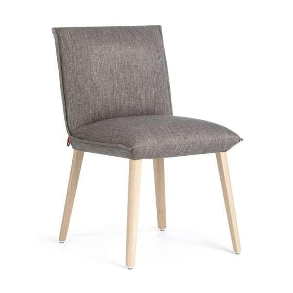 Chaise en tissu gris et bois naturel cocooning - Soft Mobitec® - 1
